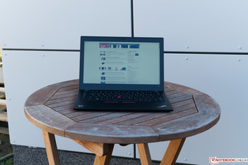 Lenovo ThinkPad A285 outdoors in the shade