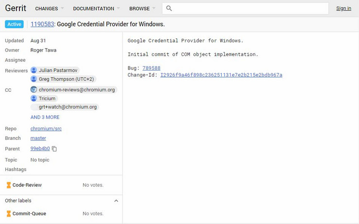 Commit for Google Credential Provider for Windows as seen on Chromium Gerrit. (Source: Chromium Gerrit)