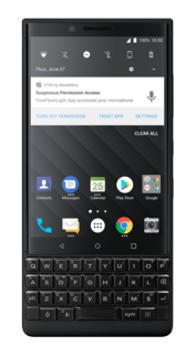 The DTEK app acts as a security monitor.