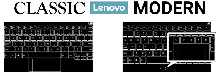 Two keyboard layouts. The space bar and touchpad share the same area in the modern layout.