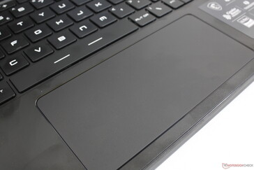 The wide clickpad is larger (14 x 6.5 cm) and much-improved over the GS65. The integrated click keys, for example, have more satisfying feedback when pressed