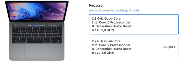 Apple offers two CPUs for the new MacBook Pro 2018 (source: Apple).