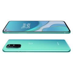 The OnePlus 8T has a flat screen and thinner bezels than its predecessor. (Image source: JD.com via @Sudhanshu1414)