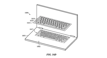 In this patent, the keyboard is fully recessed with a sealed membrane layer protecting it from debris. (Source: Mashable)