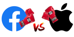 Facebook has a feud with Apple. (Image: Facebooke and Apple logos w/ edits)