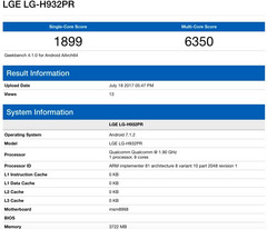 LG V30/LG-H932PR specs on Geekbench show Snapdragon 835 processor and 4 GB RAM