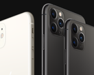 The iPhone 11 smartphones feature two or three camera sensors inside square-shaped housings. (Image source: Apple)