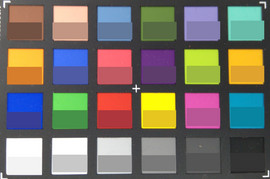 ColorChecker Passport: the target color is displayed in the bottom half of each field.