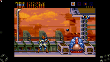 Classic games like Alien Soldier (Mega Drive) are playable via emulation. (Gameplay images via own gameplay)