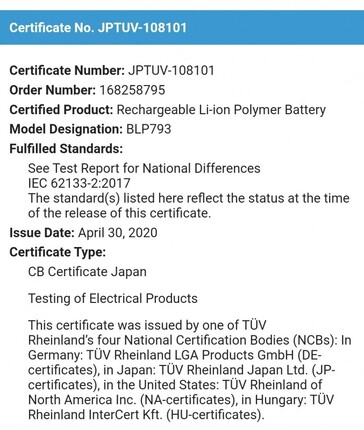 The Realme 6000mAh battery's new certifications. (Source: Twitter)