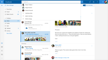 Upgraded search and attachment previews. (Source: Microsoft)