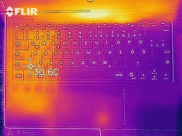 A thermal image of the top case at idle