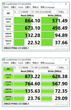 CrystalDiskMark results compariing the JMS583 (top) agains the RTL9210 (bottom). (Image source: Seeedstudio)