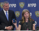 NY Mayor Bill de Blasio with NYPD deputy commissioner for IT, Jessica Tisch. (Source: NY Post)