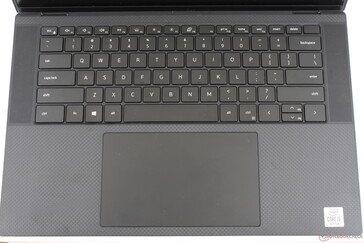 Slight layout changes from the XPS 15 7590. Dell has added additional speaker grilles along the sides of the keyboard