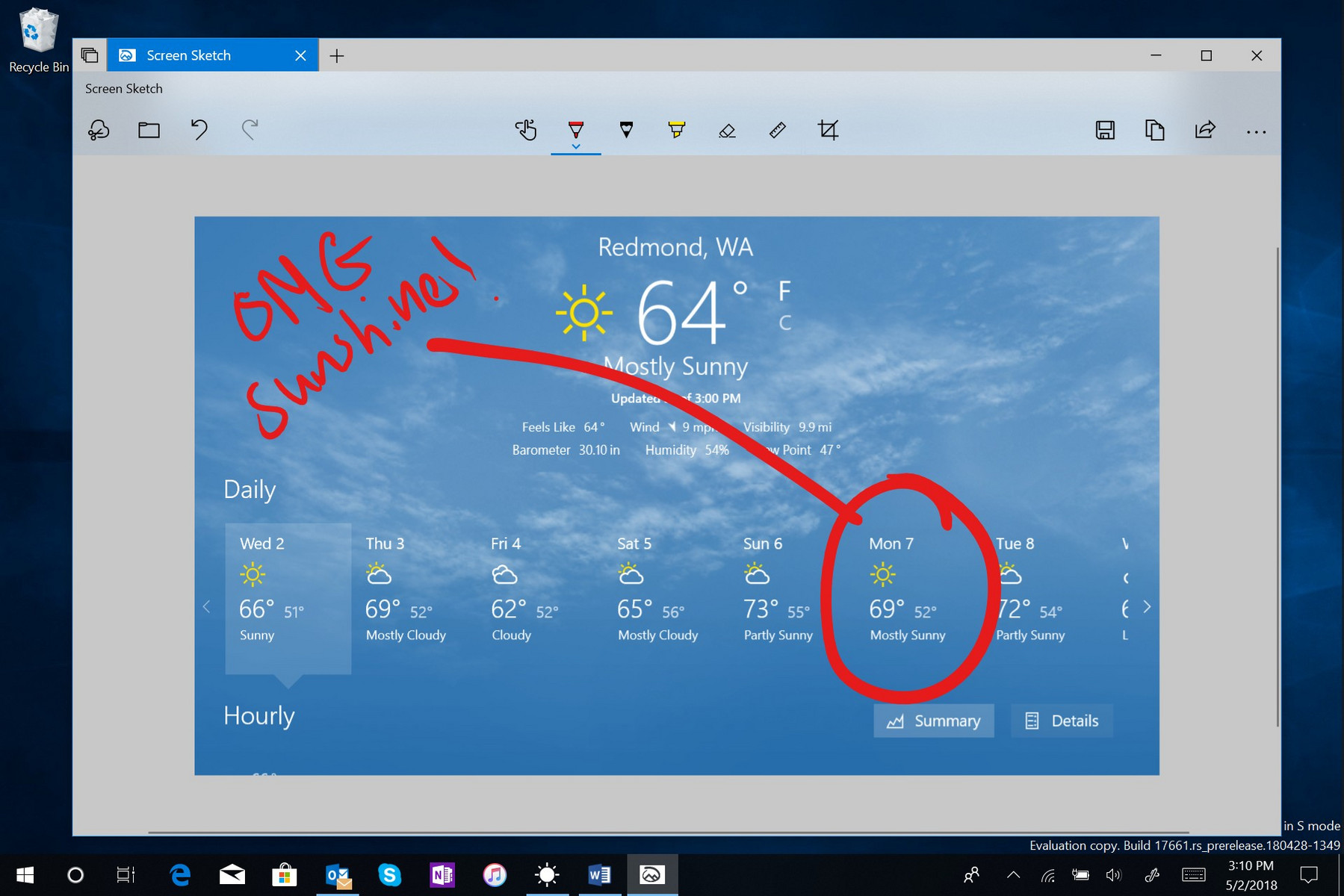 Screen Sketch tool in Windows 10 build 17661