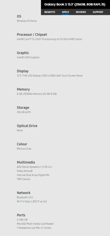Samsung Galaxy Book S - Specifications. (Source: Samsung)