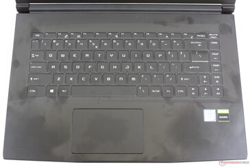 The same keyboard layout with nearly identical font to the MSI GS65