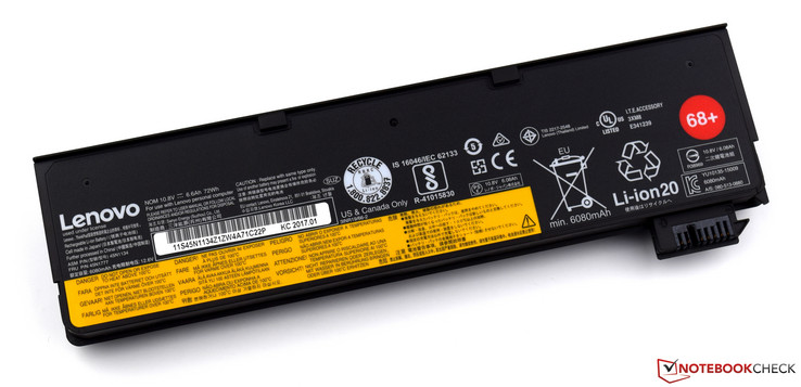 Large 72-Wh lithium-ion battery