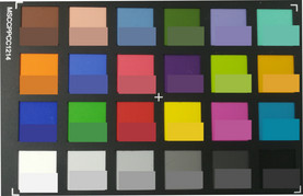 Photographed ColorChecker colors. The original color is shown in the bottom half of each patch.