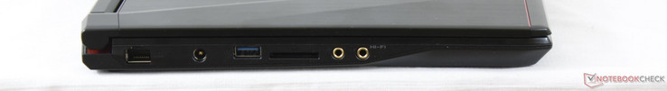 Left: Gigabit Ethernet, AC adapter, USB 3.0, SD reader, 3.5 mm microphone and earphones