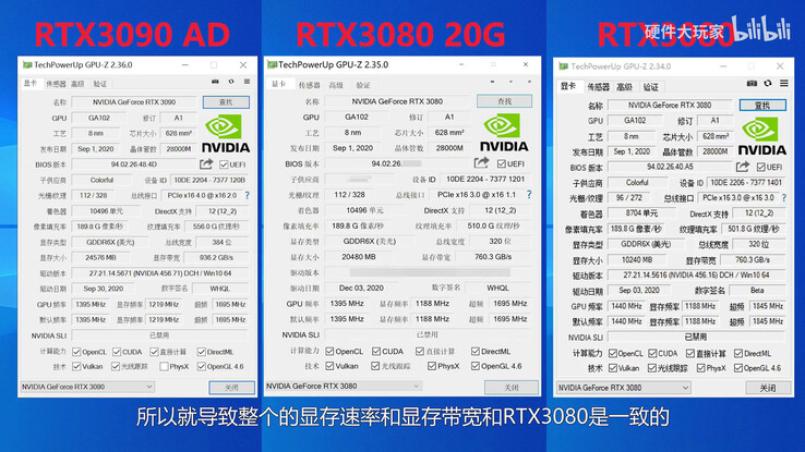 The RTX 3080 Ti, also referred to as the RTX 3080 20 GB, in GPU-Z. (Image source: Big Hardware Player)