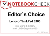 Editor's Choice Award in March 2018 for the ThinkPad E480