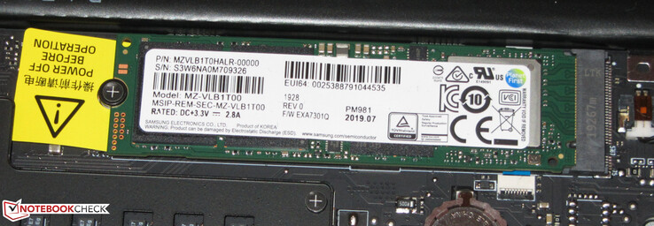 An SSD serves as the system drive