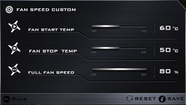 Custom fan speed settings