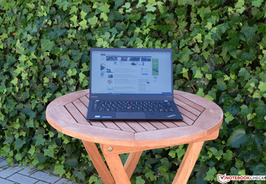 The Lenovo ThinkPad X1 Carbon 2017 in the shade