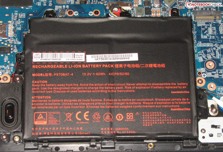 The battery has a capacity of 62 Wh.