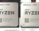 The AMD Ryzen 7 5700G offers surprising iGPU improvement over the Ryzen 7 4700G in synthetic benchmarking. (Image source: AMD/UserBenchmark/CPU-Z Validator - edited)