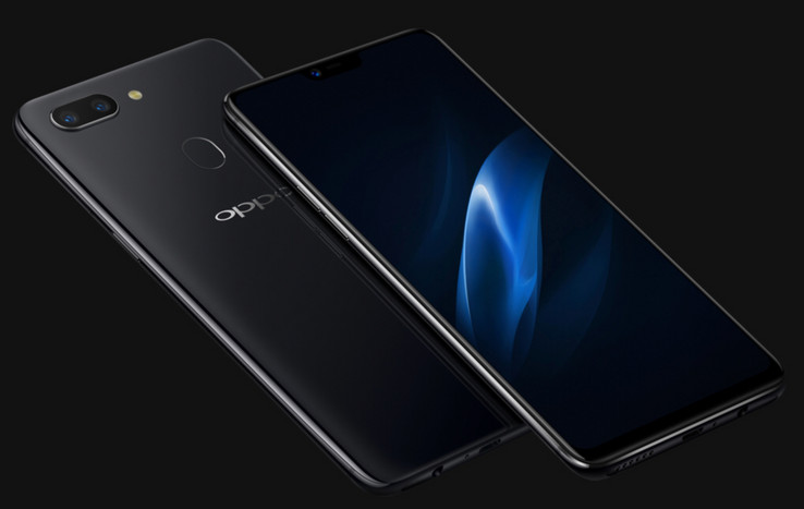 Notch? What notch? The Oppo R15 with dark wallpaper obscures the notch. (Source: Oppo)