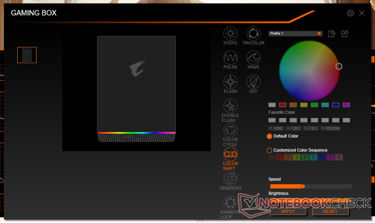 RGB Fusion 2.0 allows for color customization of the light bar