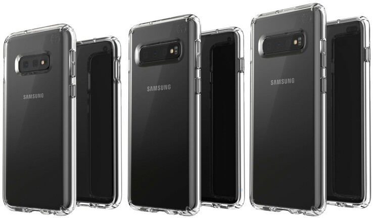 From left to right: the Samsung Galaxy S10E, the S10, and the S10+. (Source: Twitter/Evan Blass)