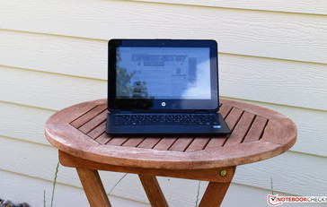 The HP ProBook X360 11 in the shade