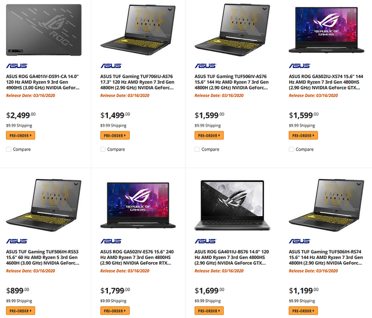 Ryzen 4000 laptops. (Image source: Newegg Canada/@momomo_us)