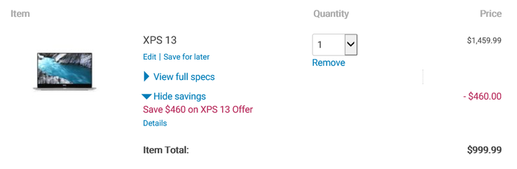 Discounted price does not include taxes. (Source: Dell)
