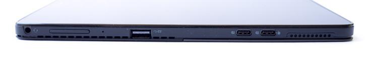 Cạnh trái: giắc cắm tai nghe, nút chỉnh âm lượng, cổng USB 3.1 Gen 1, 2x USB Type-C (Cổng hiển thị)