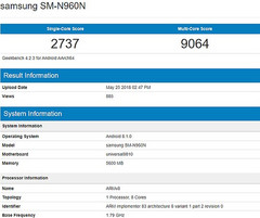 Samsung SM-N960N details on Geekbench with Exynos 9810 processor (Source: Geekbench Browser)