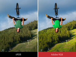 Color saturation comparison between sRGB and Adobe RGB. (Image Source: Viewsonic)