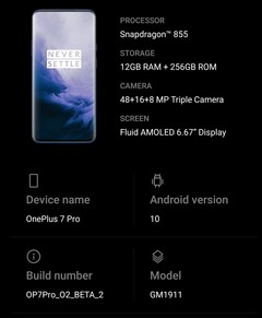 OnePlus 7 Pro running OxygenOS based on Android 10 - About Screen.