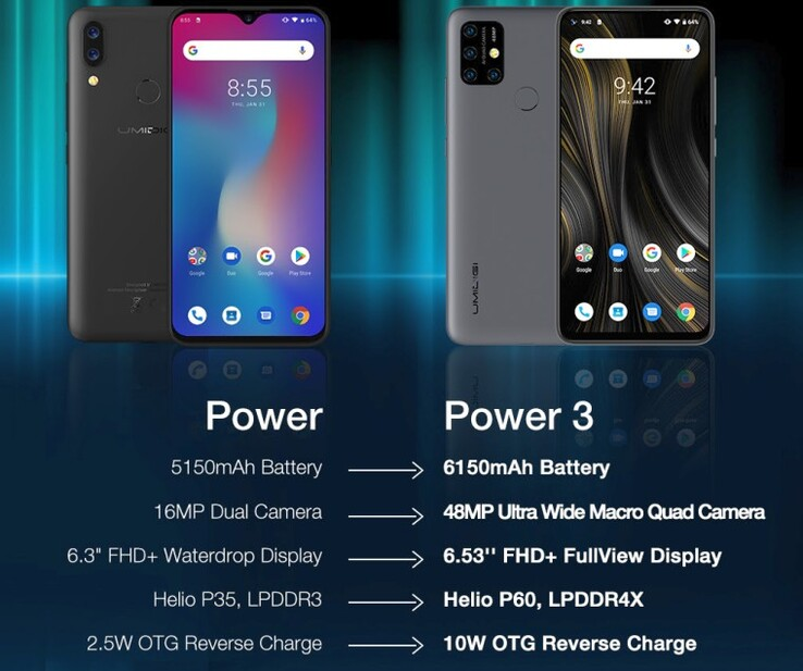 UMIDIGI Power and Power 3 side-by-side specs (Source: UMIDIGI)