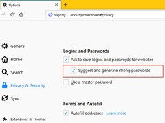 Password generator setting in Firefox Nightly (Source: ZDNet)