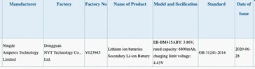 "The ""7000mAh Samsung battery"" reportedly passed through regulatory testing recently. (Source: Safety Korea, 3C via MySmartPrice)"