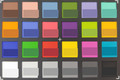 ColorChecker. Bottom half of each square represents the reference color.