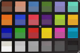 ColorChecker shot. Original colors are displayed in the lower half of each square.
