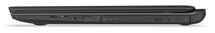 Right-hand side: SD card reader, headphone jack, USB 2.0 Type-A, DVD drive