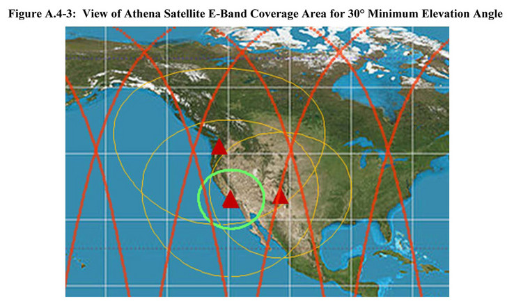 Athena's coverage area. Red lines — Proposed path; Yellow circles — Earth to Satellite contact area; Green circle — Satellite to Earth contact area. (Source: IEEE Spectrum / FCC)