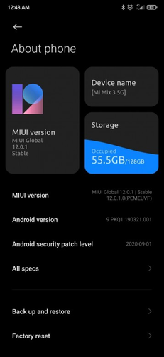The Mi Mix 3 5G has received MIUI 12 once again, but still on Android 9.0 Pie. (Image source: Mi.com)